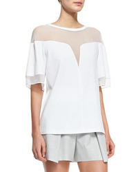 Deep v sheer yoke box tee medium 39936