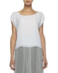 Layered boxy silk tee medium 39921