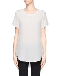Overlapped side seams silk t shirt medium 113058