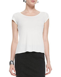 Eileen Fisher Silk Jersey Cap Sleeve Tee Soft White