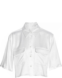 Equipment Cropped Silk Satin Shirt