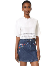 Matin french lace cropped blouse medium 800364