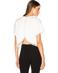 Proenza Schouler Double Face Silk Knit Crop Top