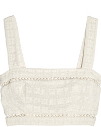Zimmermann Zephyr Cropped Broderie Anglaise Cotton And Silk Blend Top Ivory