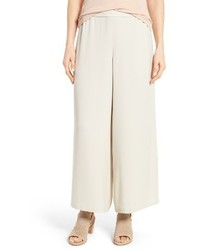 Eileen Fisher Silk Georgette Wide Leg Crop Pants