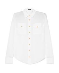Balmain Button Detailed Silk De Chine Shirt