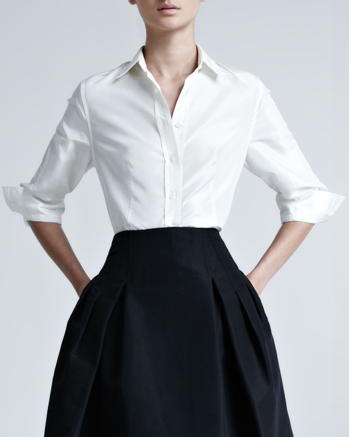 Carolina herrera silk taffeta shirt where to buy how for Where to buy a dress shirt