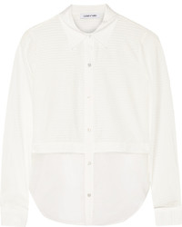 Elizabeth and James Jeza Striped Poplin And Silk Organza Blouse