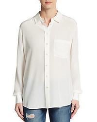 Vince Linen Jersey Back Silk Shirt