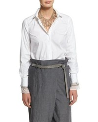 Brunello Cucinelli Long Sleeve Button Front Blouse White