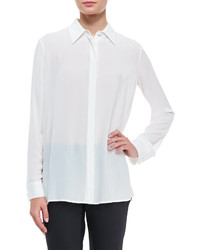The Row Long Sleeve Collared Blouse