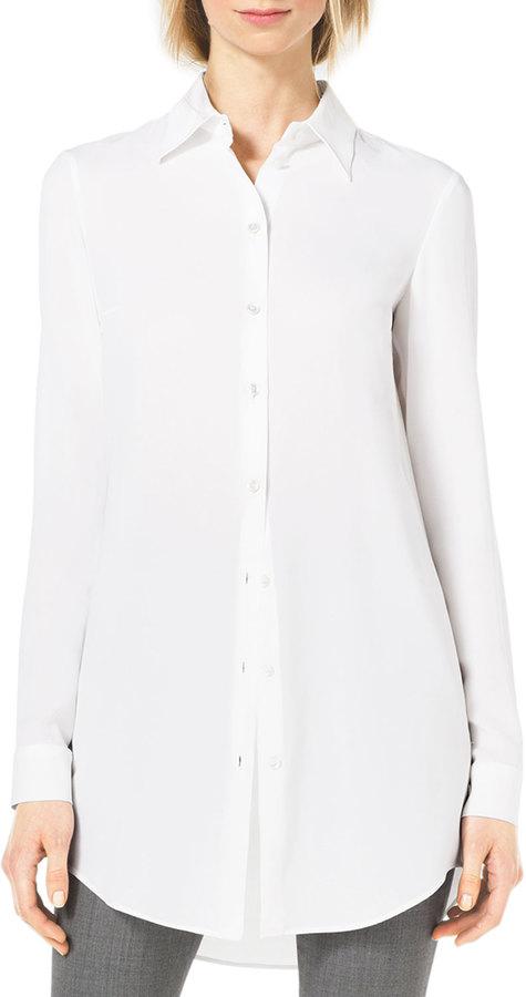 Белая шелковая рубашка женская