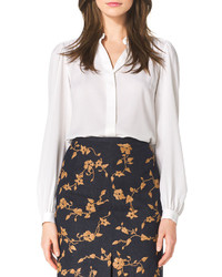 Michael Kors Michl Kors Long Sleeve Silk Blouse White
