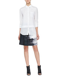 Vince Mixed Fabric Layered Blouse