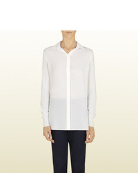 Gucci Natural White Silk Button Down Shirt