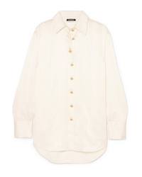Balmain Oversized Crinkled Silk Satin Shirt