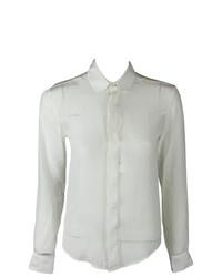 Patrik Ervell White Formal Button Down Silk Blouse Top 0