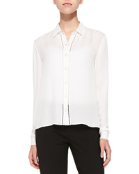 Alice + Olivia Perforated Long Sleeve Silk Blouse