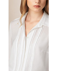 Burberry Pleat Detail Silk Shirt