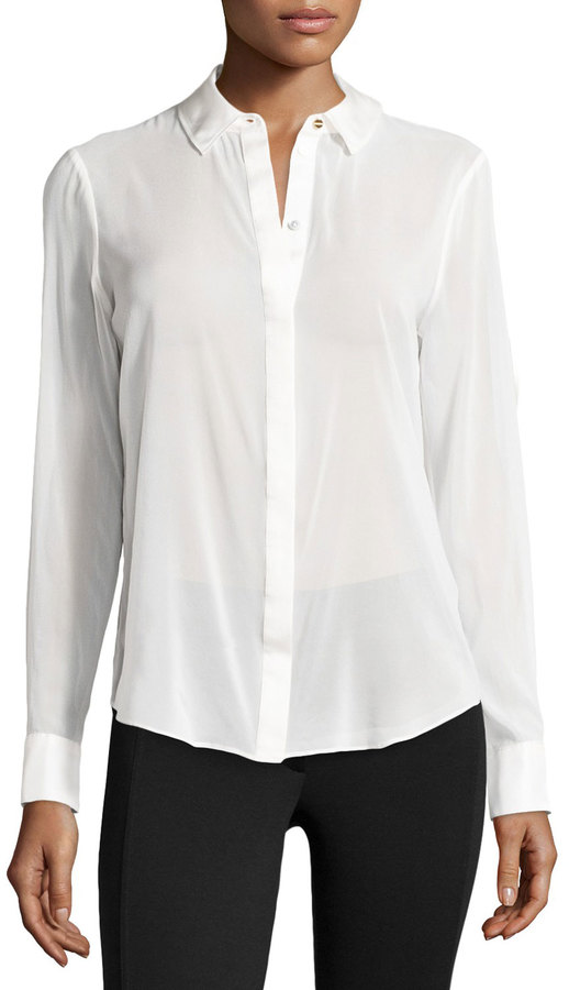 Rachel Zoe Sheer Chiffon Blouse W Silk Trim Winter White | Where ...
