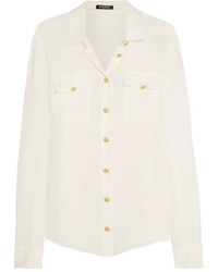 Balmain Silk Crepe De Chine Shirt White