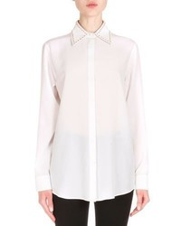 Givenchy Studded Collar Crepe De Chine Blouse