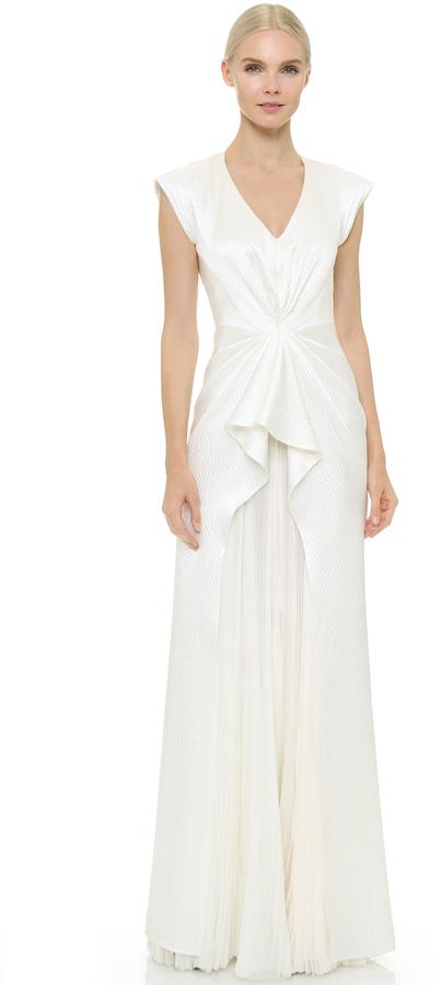 J. Mendel J. Mendel Monika Sleeveless V-Neck Gown | Where to buy ...