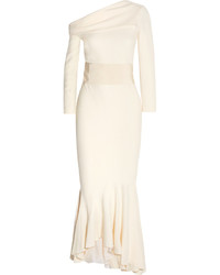 Haider Ackermann Off The Shoulder Asymmetric Crepe Gown Ivory