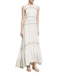 3.1 Phillip Lim Pintuck Sleeveless Silk Gown Dress W Ties White