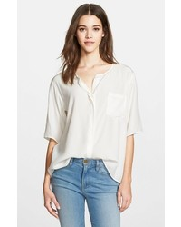 Frame Denim Le Elbow Sleeve Washed Silk Charmeuse Blouse