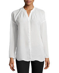 Neiman Marcus Pleated Long Sleeve Dolman Blouse White