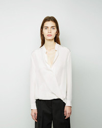 3.1 Phillip Lim Collarless Tucked Blouse