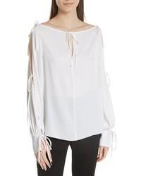 Connie stretch cold shoulder silk top medium 8852129