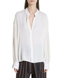 Vince Mixed Media Pullover Silk Blouse