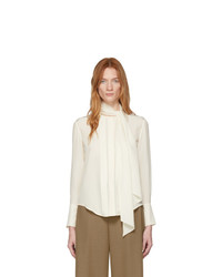 Chloé Off White Silk Neck Tie Blouse