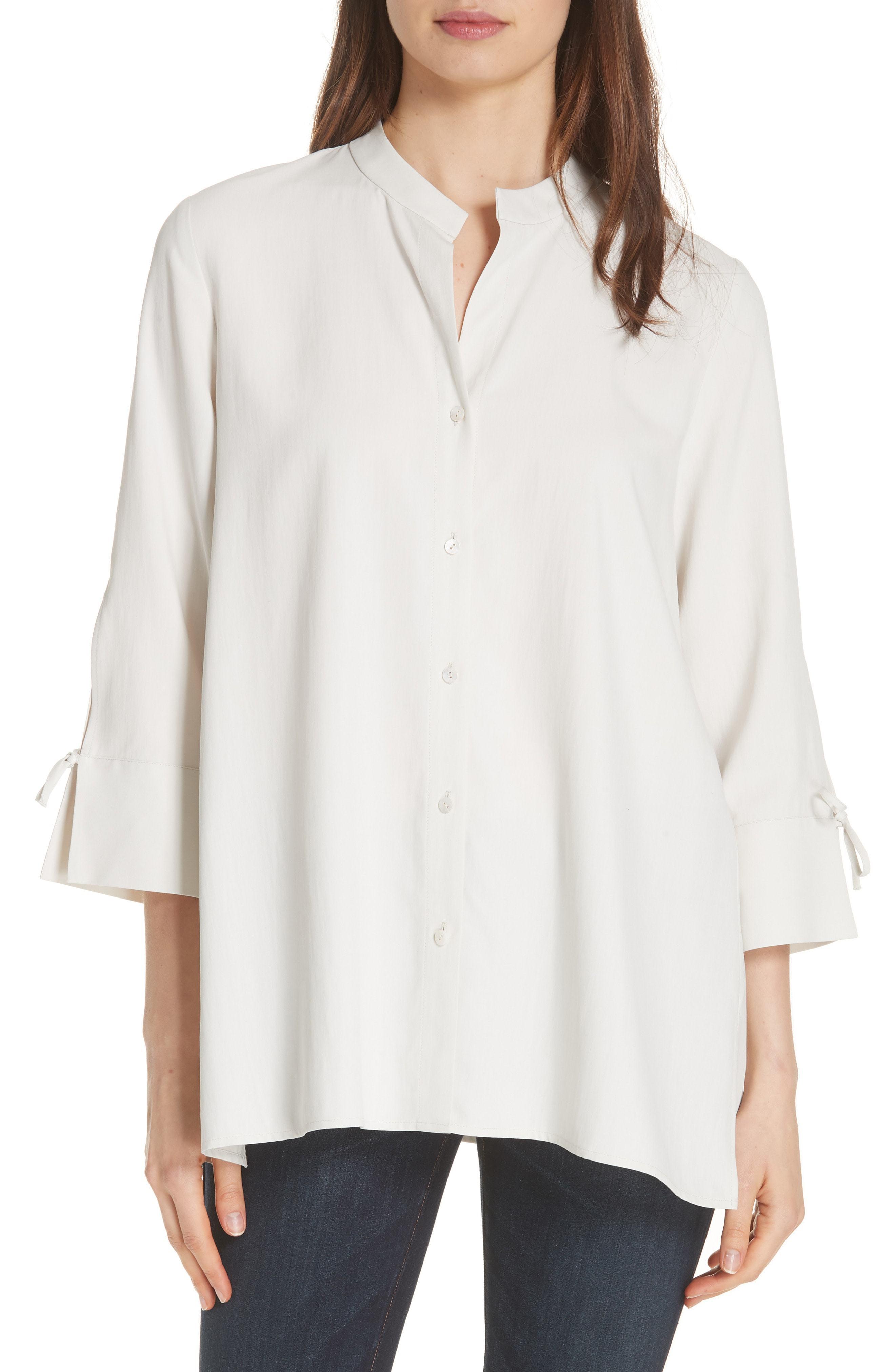 7882ec5e4363f4 Eileen Fisher Tie Sleeve Silk Shirt, $138   Nordstrom   Lookastic.com