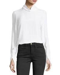 Turtleneck long sleeve silk blouse medium 6571444