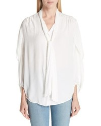 Balenciaga Twist Sleeve Silk Blouse