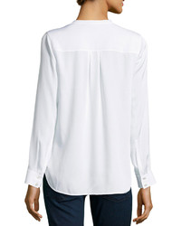 White Satin Blouse Long Sleeve 66