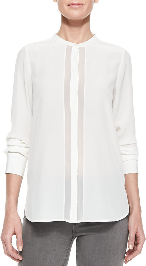 Vince Sheer Charmeuse Long Sleeve Blouse Off White | Where to buy ...