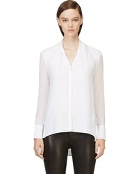 Helmut Lang White Sheer Sleeve Blouse