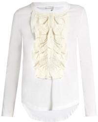 Chlo long sleeved silk ruffle trimmed cotton t shirt medium 824301