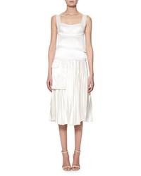 Sleeveless bustier pliss midi dress off white medium 3029720