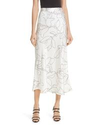 White Silk Midi Skirt