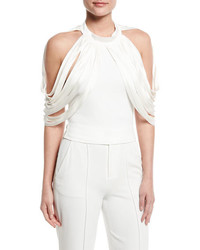 Alice + Olivia Bree Drape Shoulder Crop Top Off White
