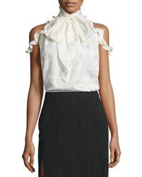 Rachel Zoe Drayton Cold Shoulder Tie Neck Top Off White