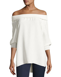Lafayette 148 New York Marlo Silk Off The Shoulder Blouse W Ribbed Trim