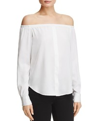 DKNY Off The Shoulder Silk Blouse