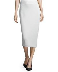 Eileen Fisher Silk Organic Cotton Interlock Pencil Skirt Bone Plus Size