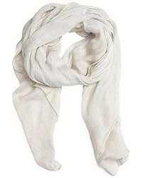 Giorgio Armani White And Khaki Striped Logo Printed Silk Blend Scarf
